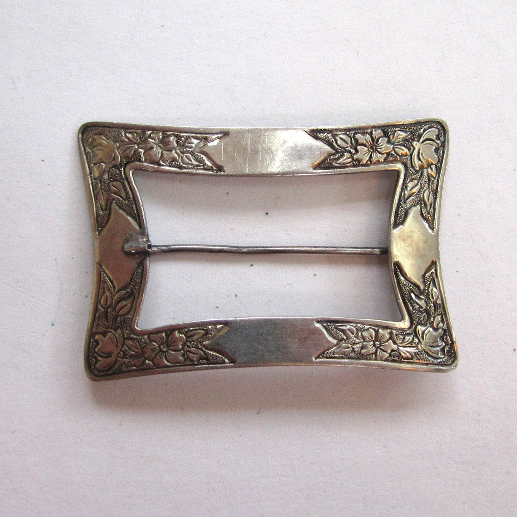 Art NouveauSterling Silver P&B Floral Sash Brooch/Pin