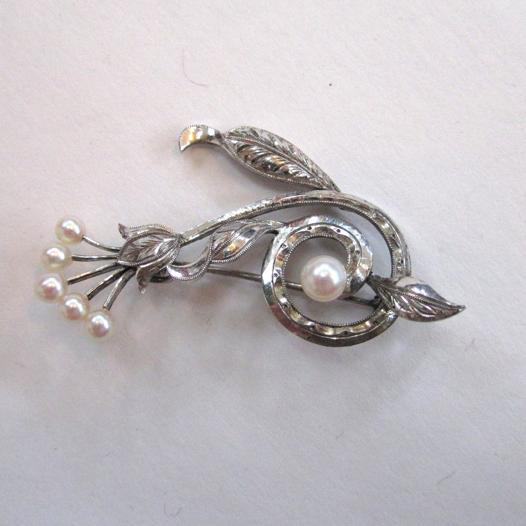 Sterling Silver Cultured Pearl Abstract Floral Brooch/Pin