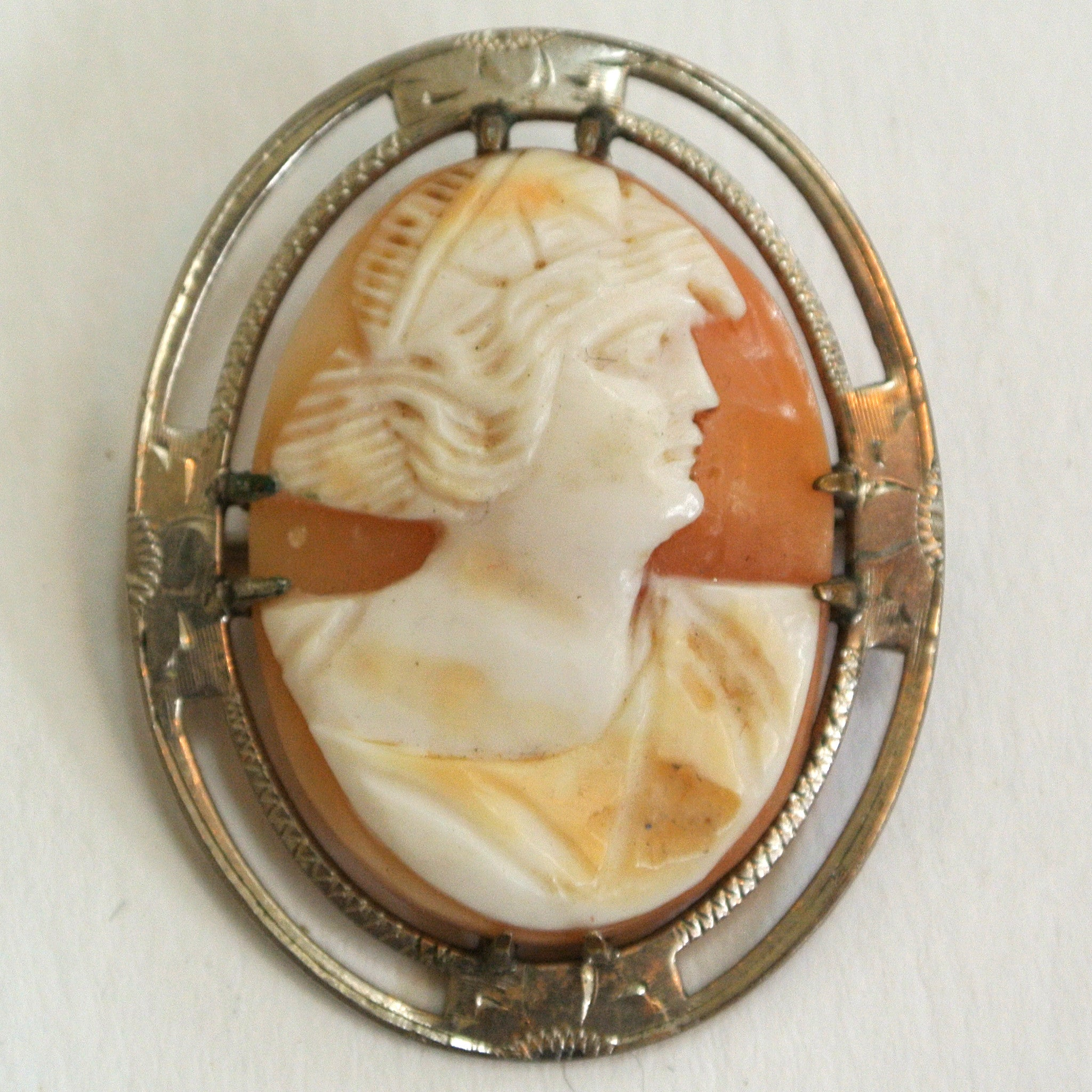 Sterling Silver Shell Cameo Brooch/Pin