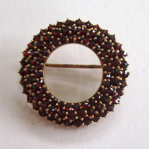 900 Silver Gilt Rose Cut Garnet Brooch/Pin