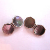 Art Deco Swank Mother-of-Pearl Cuff Link and Shirt Button Set