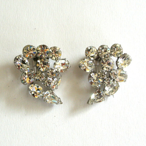 Rhinestone Teardrop-Shaped Fur Clips