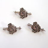 Three Sterling Art Nouveau Matching Lady Pins