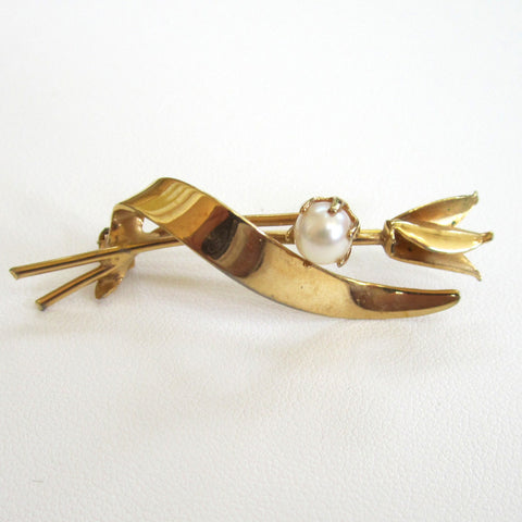 Gold-Tone Freshwater Pearl Tulip Brooch/Pin