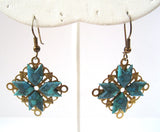 Filigree Turquoise Gold Tone Earrings