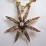 Victorian 14K Yellow Gold Diamond Seed Pearl Starburst Pendant