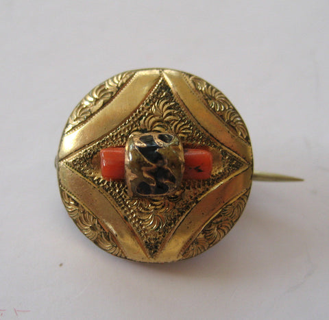 Victorian Branch Coral Gold-Filled Circular Brooch/Pin