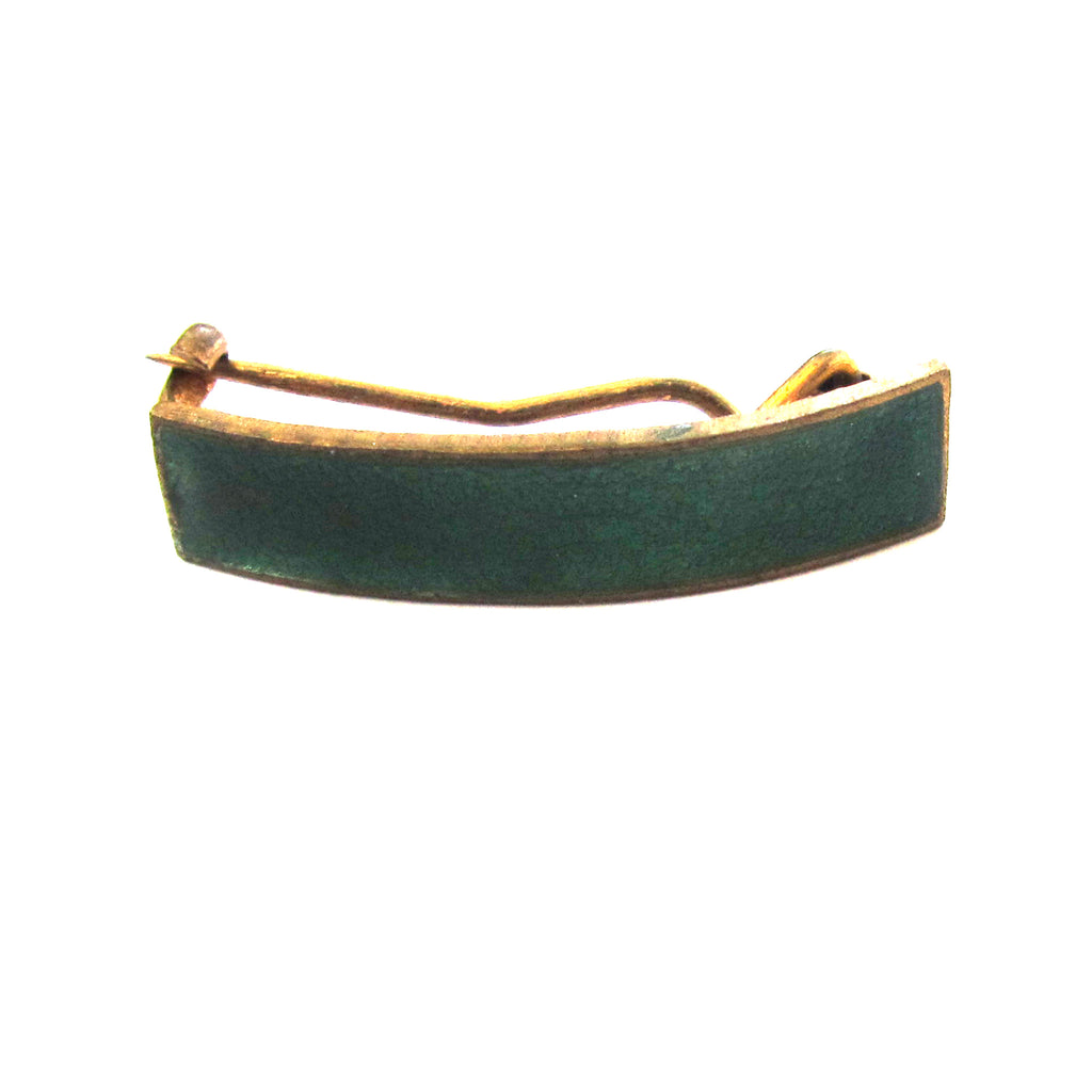 Brass Green Enamel Curved Brooch/Pin