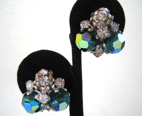 Vogue Green Crystal and Rhinestone Earrings