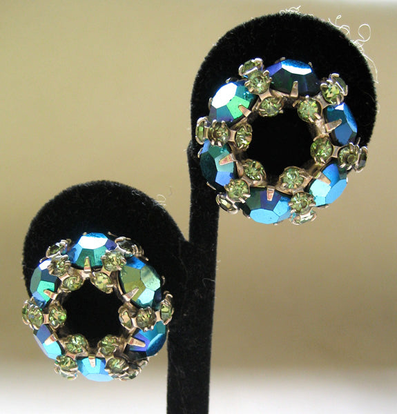 Warner Teal Aurora Borealis Rhinestone Wreath Earrings