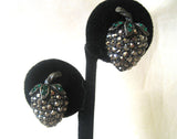Weiss Silvertone Marcasite and Green Rhinestone Berry Demi Parure :Brooch/Pin/Earrings