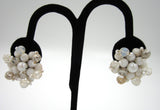 West German White Bead Snowflake Earrings