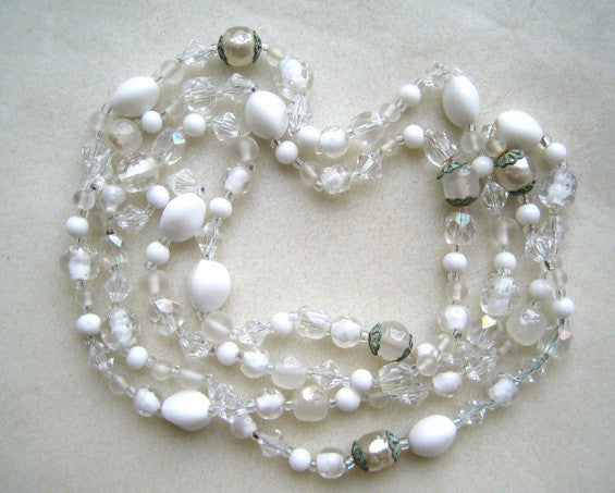 Art Deco White Glass Bead Necklace with Filigree Caps