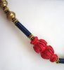 Red, Blue and Gold Wood and Plastic Tribal Necklace