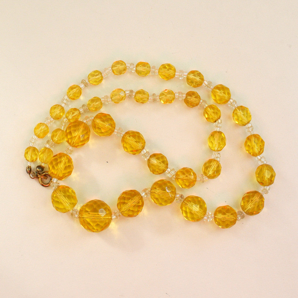 Art Deco Cut Crystal Yellow Bead Necklace