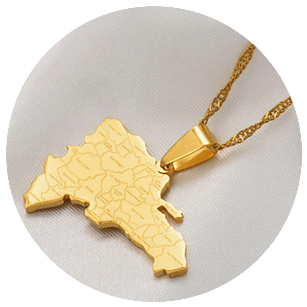 Map With City Names Necklace