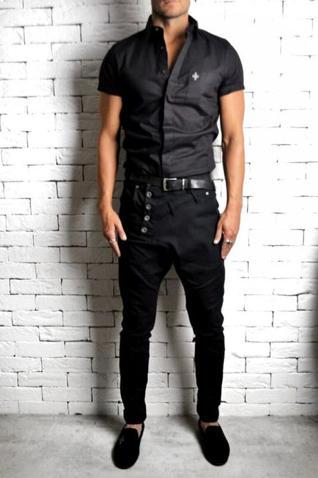 Short Sleeve Embroidered Shirt - Black