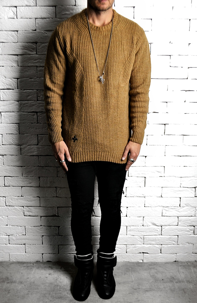 Camel Knitted Jumper | Mens Jumpers | Alex Christopher