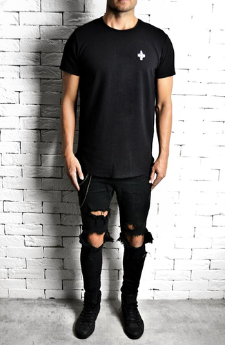 Black Curve Hem T-Shirt | Mens T-Shirts | Alex Christopher Clothing