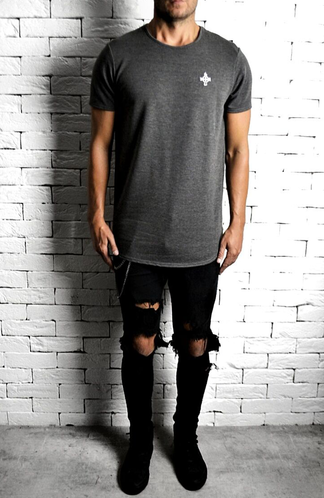 Grey Curve Hem T-Shirt | Mens T-Shirts | Alex Christopher Clothing