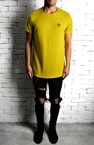 Mustard Curve Hem T-Shirt | Mens T-Shirts | Alex Christopher Clothing