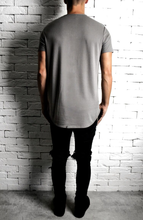 Taupe Curve Hem T-Shirt | Mens T-Shirts | Alex Christopher Clothing