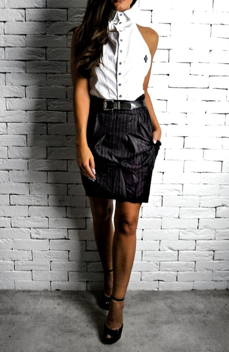 Brown Pinstripe Hudson Mini Skirt | Women's Skirts | Alex Christopher