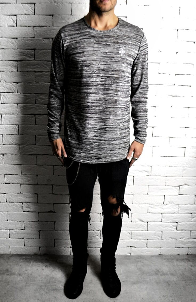 Grey Marl Long Sleeve Curve Hem T-Shirt | Alex Christopher Clothing