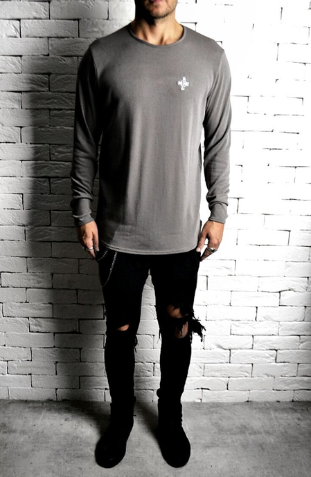 Taupe Long Sleeve Curve Hem T-Shirt | Alex Christopher Clothing