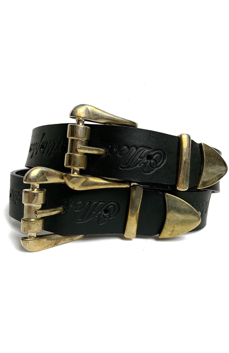 Double Buckle Waist Belt - Black and Gold