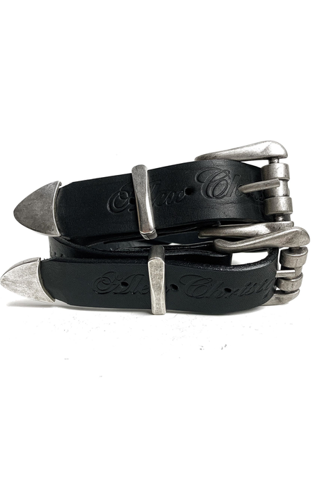 Double Buckle Belt - Black and Silver