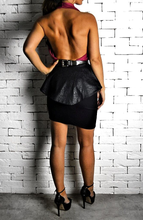 Peplum Skirt - Black Embossed