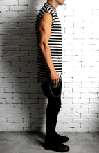 Cap Sleeve T-Shirt - Black/Cream Stripe