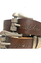 Double Buckle Waist Belt - Brown/Silver