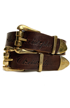 Double Buckle Belt - Brown and Gold