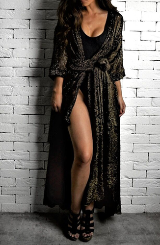 Black/Gold Sparkle Kaftan | Beachwear | Alex Christopher Clothing