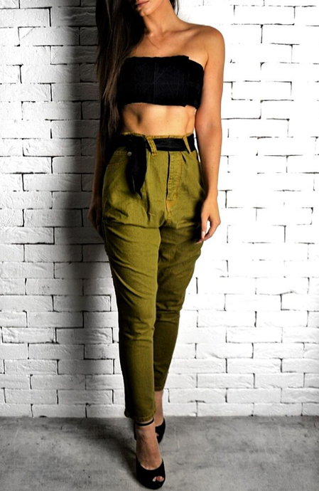 Khaki Drop Crotch Utility Jeans | Women's Jeans | Alex Christopher