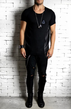 Directional Leather Embossed Panel T-Shirt