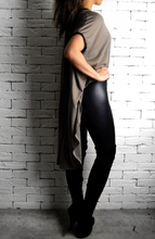 Leather V Cape - Beige