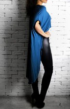 Leather V Cape - Cobalt