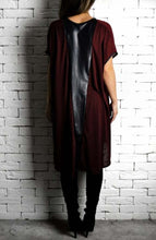 Leather V Cape - Wine