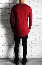 Directional Piped Long Sleeve T-Shirt - Maroon