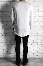 Directional Piped Long Sleeve T-Shirt - White
