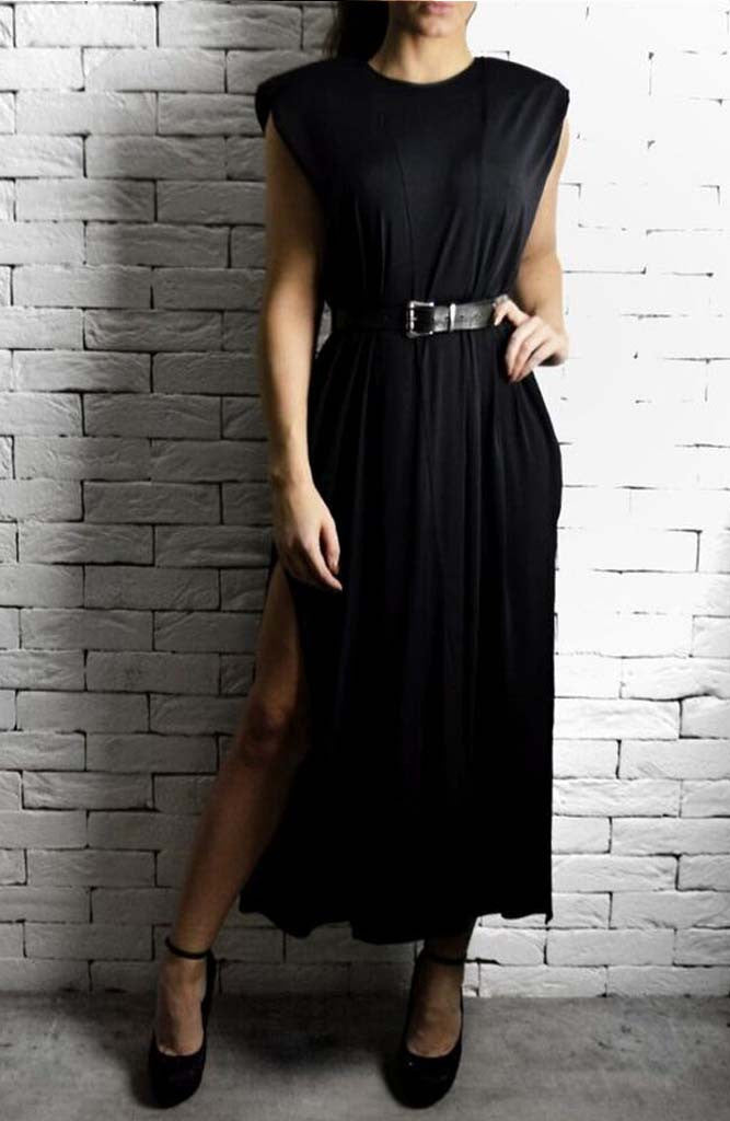 Black Maxi V Dress | Unique Dresses | Alex Christopher Clothing