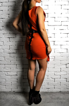 Orange Leather Strip Dress | Women's Unique Dresses | Alex Christopher