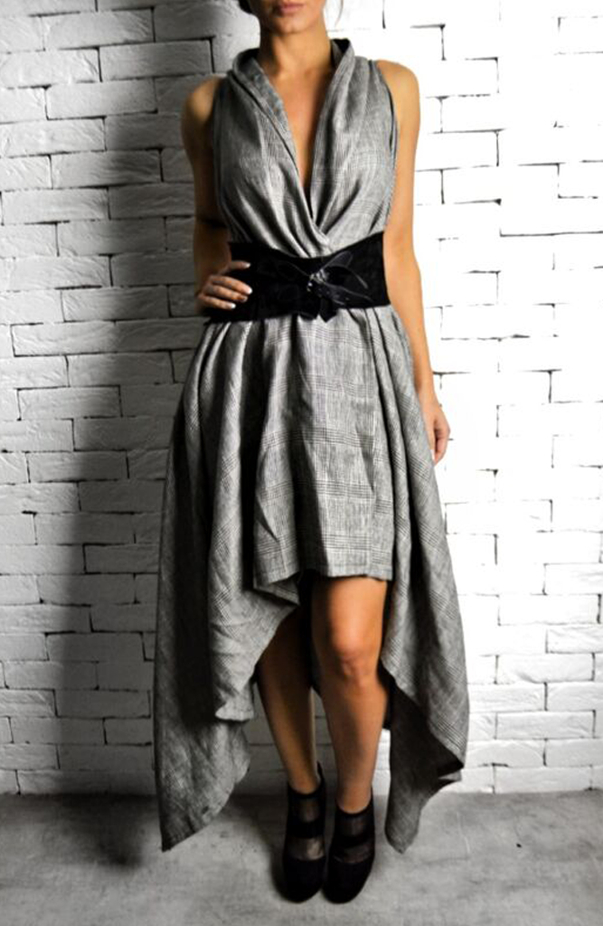 Raven Dress - Grey Check