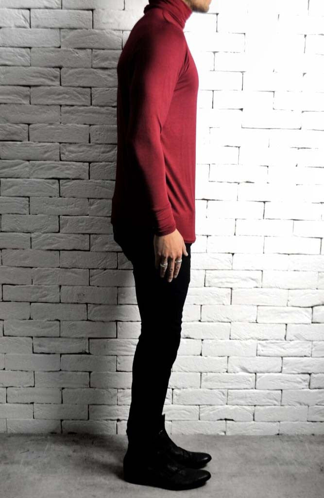 Maroon Roll Neck | Mens T-Shirts | Alex Christopher Clothing