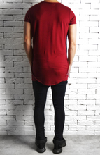 Directional Piped Short Sleeve T-Shirt - Maroon