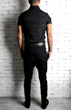 Black Side Button Skinnys | Drop Crotch Jeans | Alex Christopher