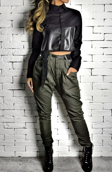 Leather Cropped Shirt - Black